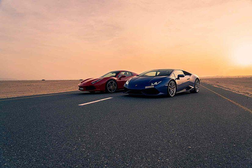 Ferrari Lamborghini desert